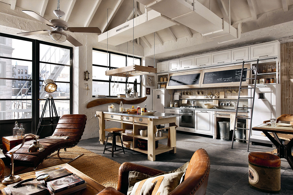 Landhausk chen mit kochinsel edle k chen for Muebles industrial loft